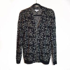 Reiss Black & Cream Abstract Zip Up Cardigan